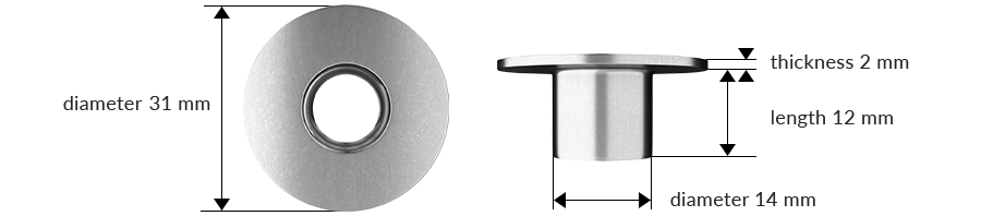 Dimensions of the product: bushing