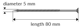 Dimensions of the product: hardened wood screw - 1